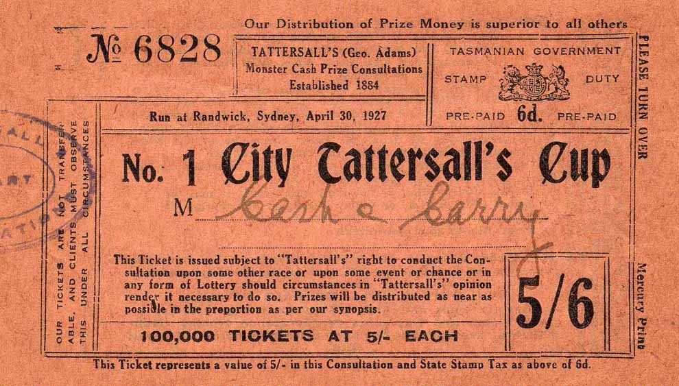 Tasmania Tattersall's Tickets and the stamp Duty Tax